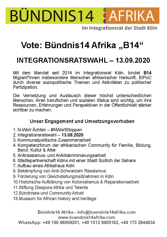 """Vote: Bündnis14 Afrika """"B14"""" -  INTEGRATIONSRATSWAHL – 13.09.2020"""